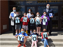 Hempstead Town Clerk Kate Murray and Councilman Dennis Dunne visited Barnum Woods to collect the cards and personally thank the students for their meaningful messages. thumbnail183612